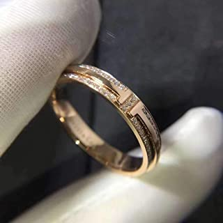 T Two Narrow Ring 14k Rose Gold Round Cut Pave Diamonds Engagement Wedding Ring in All Size