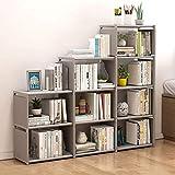 usuallye 9 Cube Storage Organizer Shelves DIY Open Stackable Bookshelf Closet Rack Bookcase Cabinet for Bedroom Living Room Office (Grey)