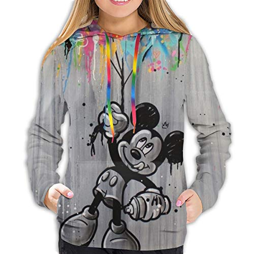 FASHIONDIY Mickey Mouse Minnie 3D Druck Frauen Hoodie Sweatshirt Pullover Hoodie Graphic Prints Sweater Gr. 46, Schwarz