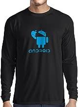 lepni.me Long Sleeve t Shirt Men Android Eating The Apple -I Love Cool Tech Gadgets, Geek Nerd Humor