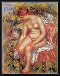 Renoir (Bather Drying her Leg, 1895) Canvas Art Print Reproduction Framed with 2.6