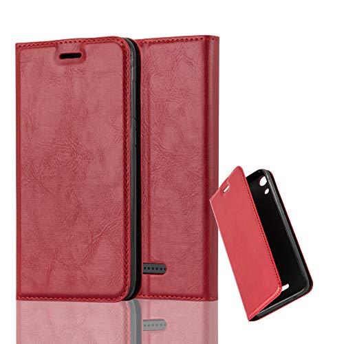 Cadorabo Hülle für WIKO Lenny 4 in Apfel ROT - Handyhülle mit Magnetverschluss, Standfunktion & Kartenfach - Hülle Cover Schutzhülle Etui Tasche Book Klapp Style