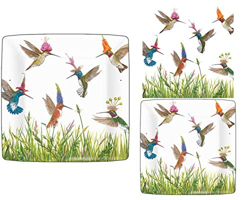 Hummingbird Themed Party Supply Pack: Bundle Includes Paper Plates and Napkins for 8 People in a Meadow Buzz Design by Vicki Sawyer