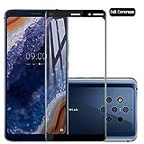 Protector Pantalla Nokia 9 PureView, Voviqi Cristal Templado Nokia 9 PureView, Vidrio Templado Protector de Pantalla con [Cobertura Completa] [9H Dureza] [Alta Definicion] para Nokia 9 PureView, Negro
