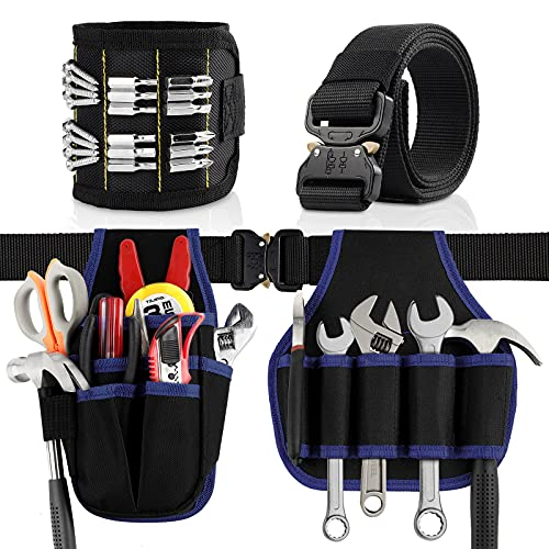Tool Pouches Belt Magnetic Wristband SEBIDER Tool Bags with 6 Pockets 14 Loops, Tools Organizer for Carpenters Electrician Technician Handyman, Tools Holder for Screws, Wrenches, Drill, Nails(4PCS)