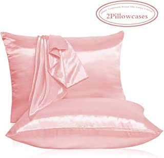 Leccod 2 Pack Silk Pillowcase with Hidden Zipper, Super Soft and Luxury Satin Pillow Cases Covers for Hair and Skin (Light Pink, Standard: 20x26)