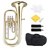 ammoon B Flat Baritone Horn Bb Piston-Style Gold Lacquer Surface Wind Instrument with Mouthpiece Gloves...