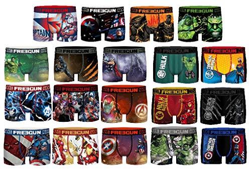 Ozabi Boxershorts Surprise Freegun aus Mikrofaser, verschiedene Modelle für Fotos je nach Verfügbarkeit, mehrfarbig, 4 Stück Gr. 10-12 Jahre, Pack Marvel.