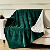SOCHOW Luxury Sherpa Fleece Throw Blanket, 600GSM Ultra Soft and Warm Flash in The Light Plush Blanket for Bed Sofa Couch, Fall Winter and Spring, 60 × 80 Inches, Forest Green