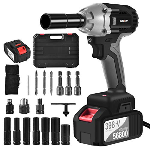 21 V Lithium-Ion Brushless Impact Wrench Kit,Brushless Motor Max Torque 680N.M,Cordless Electric Impact Wrench with 4.0Ah Li-ion Battery with Fast Charger, Belt Clip and Tool Bag