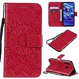 KKEIKO Hülle für Huawei P Smart Plus 2019 / Huawei Honor 10I, PU Leder Brieftasche Schutzhülle Klapphülle, Sun Blumen Design Stoßfest Handyhülle für Huawei P Smart Plus 2019 - Rot