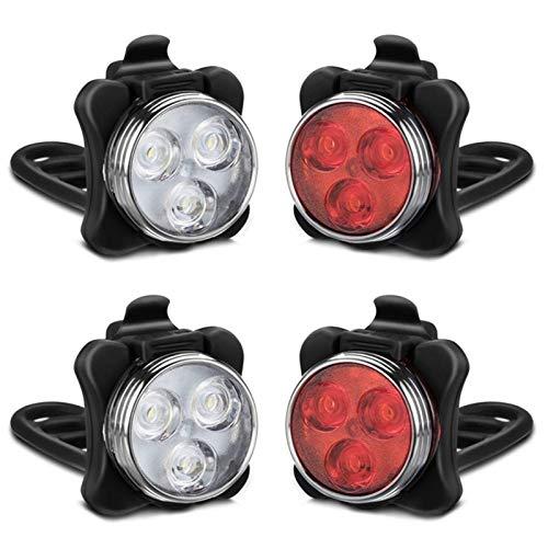 FDSJKD Luces de Bicicleta de Carga USB Ajuste de 4 Engranajes 650mAh Luces Frontales y traseras de la Carretera Lámparas de Advertencia de LED Impermeable