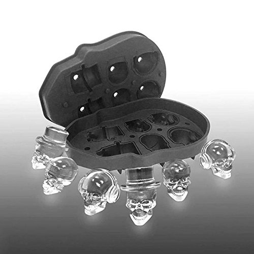 1Pc 3D Skull Silicone Ice Cube Tray Mold 6-Cavity Bar Diy Mould Ice Maker