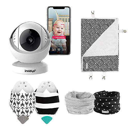 invidyo Baby Monitor with Bazzle Baby Bundle, WiFi Live Video & Audio Cry Detection & Stranger Alerts 1080P Full HD Camera Night Vision Two Way Talk Temp. Sensor Remote Pan & Tilt Smart Phone App Monitors