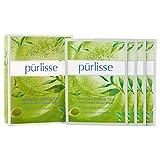 pūrlisse Matcha Green Tea Antioxidant Korean Sheet Mask - Natural Anti Aging Face Sheet Mask w/Collagen, Ellastin, Green Tea, White Tea & Vitamin E, Improves Skin Texture and Radiance, 6 Pack