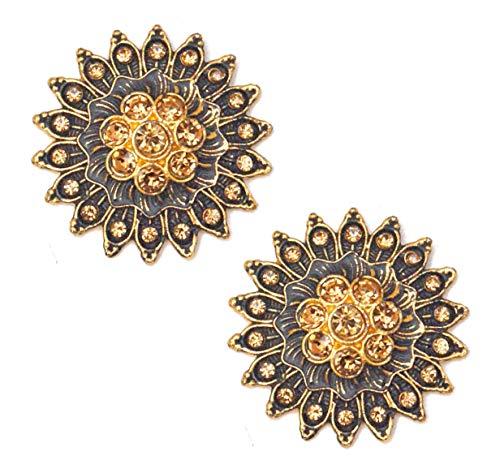 Pahal - Pendientes Jhumka tradicionales de oro Jaipur pintados en azul, joyería de novia para mujer