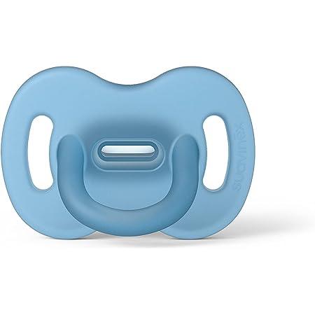 Suavinex Nuevo Chupete Para Dormir Todo Silicona, Para Bebés 0/6 meses, Chupete con Tetina Fisiológica SX Pro, Super Blandito y Flexible, Color Azul