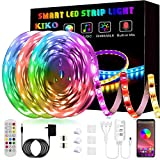 50ft/15M LED Strip Lights, Smart KIKO Led Lights Music Sync Color Changing Rope Lights SMD 5050 RGB Light Strips with Bluetooth Controller Apply for TV, Bedroom, Party and Home Decoration
