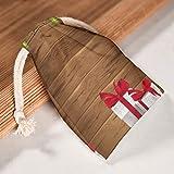 XJJ88 1 per 6 sacchetti di tela con scritta'Merry Christmas' e scritta'Happy New Year', Tela, bianco, 12 * 18cm