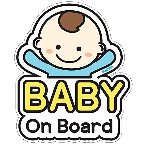 GEEKBEAR Baby on Board Sticker and Decal for Boy - Baby Bumper Car Sticker - Baby Window Car Sticker - Baby in Car Sticker - Cute Safety Caution Decal Sign for Cars