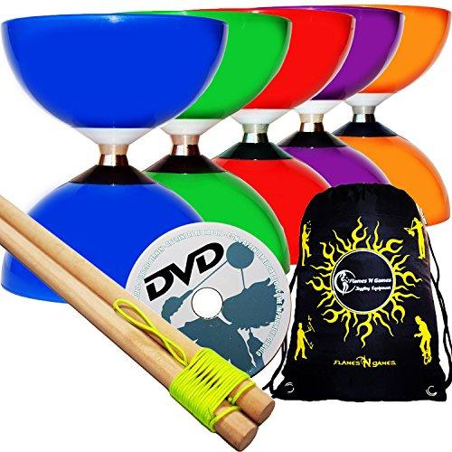 Carousel Diabolo Freiläufer mit kugellager Dreifache Lagerung Set mit Diablo Holzhandstäbe und Diaboloschnur + Diabolos Reisetasche! (Orange Diabolo + Holzhandstäbe + DVD)