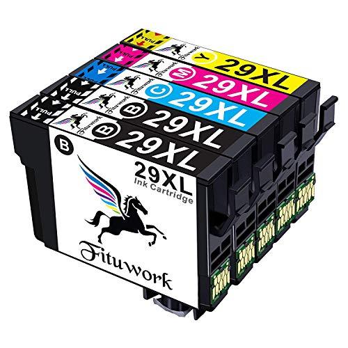 Fituwork 5PK (1Set + 1B) Cartuccia d'inchiostro compatibile per Epson 29 XL 29XL Uso in Epson Expression Home XP-235 XP-332 XP-335 XP-432 XP-245 XP-247 XP-342 XP-345 XP-435 XP-442 XP-445 5Packs- (2B1C1Y1M)