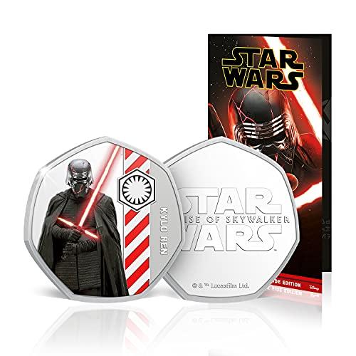 FANTASY CLUB Star Wars Münze - Rise of Skywalker Dark Side Komplettkollektion - 50p geformte Silberne Gedenkmünze für 50 Pence / Offizielle Star Wars-Geschenke Limitierte Auflage