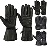 MRX BOXING & FITNESS Mens Motorbike Gloves Cold Weather Motorcycle Riding Glove Genuine Leather Black (L)