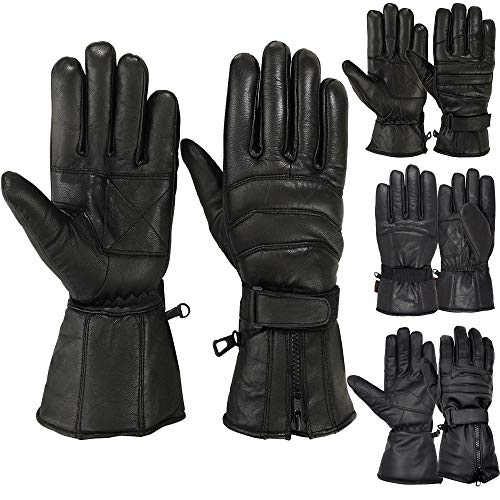 MRX BOXING & FITNESS Mens Motorbike Gloves Cold Weather Motorcycle Riding Glove Genuine Leather...
