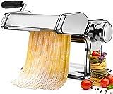 Sailnovo Machine à pâtes Fraîches Manuelle en Acier Inoxydable pour Tagliolini de 2 mm et Fettucine de 6.6 mm, 9...