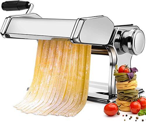 Macchina per Pasta Manuale con Manovella Sfogliatrice, Macchina per La Pasta con 9 impostazioni regolabili, in Acciaio Inossidabile 430, perTagliatelle/Spaghetti/Lasagna/Ravioli