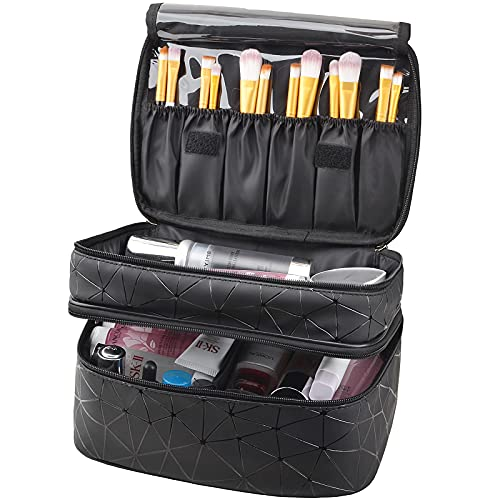 MKPCW makeup bag Double-layer cosmetic bag with brush bag and divider (Black)
