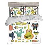 Funda nórdica Tamaño doble (150 x 200 cm) con 2 fundas de almohada Fiesta Juegos de cama de microfibra Símbolos de México Cara de guitarra Máscara azteca Cráneo de tequila Instrumentos musicales Taco