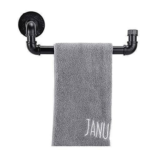 30cm / 12inches Vintage Industrial Pipe Towel Holder - Toallero de Metal Retro Montado En La Pared Bar Colgador de Soporte para Albornoces, Accesorios de Baño, Negro