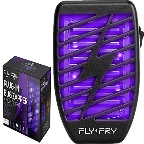 FLYFRY Indoor Bug Zapper for Home Plug in - Electronic Insect Trap - UV Electric Killer - Blue Night Lamp for Mosquitoes Gnats Moths Bugs - Odorless Noiseless - Black