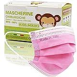 50 Pezzi MADE IN ITALY Mascherine Bambini Colorate protettiva colorata personale 3 strati CE tipo IIR, Nasello Regolabile, Pacchi individuali (Rosa)