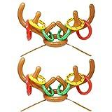 Juego de 2 Inflable Reno Sombrero de asta con Anillos para Fiesta de Navidad Juguetes