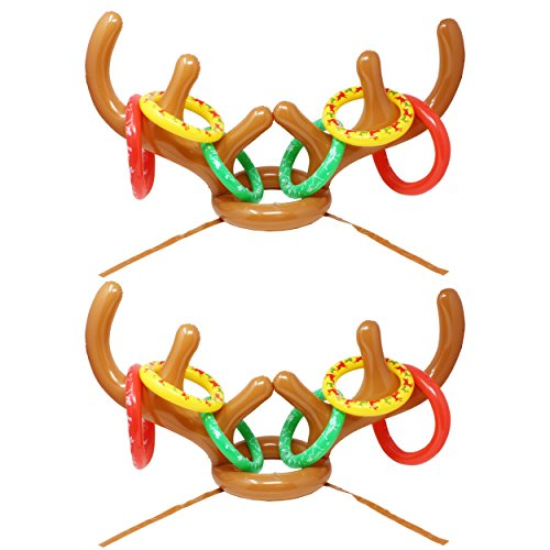 JOYIN Inflatable Reindeer Antler Toss Game for Christmas Party-One Size Fit All (2 Set Reindeer)