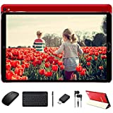 Goodtel Tablet 10 Inch Android 10.0, Equipped Octa-Core Processor 1.6Ghz Cores, 4GB Ram + 64GB ROM, Microsd 4-128GB / Dual Camera / WiFi / Android Tablet with Bluetooth Keyboard and Mouse -Red