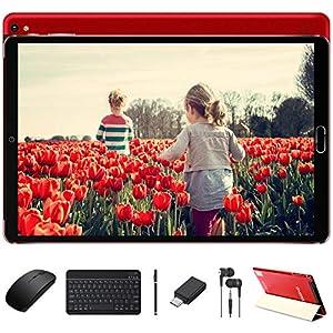 Tablet 10 Pulgadas Android 10 Pro con Procesador Octa-Core Núcleos 1.6GHz 4GB RAM + 64GB ROM Batería 8000mAh | Cámara Dual 5MP + 8 MP | WiFi | Bluetooth | MicroSD 4-128GB, con Teclado y Ratón, Rojo