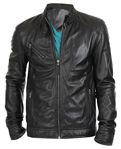 The Leather Factory Men's New Black Genuine Lambskin Leather Motorcycle Jacket