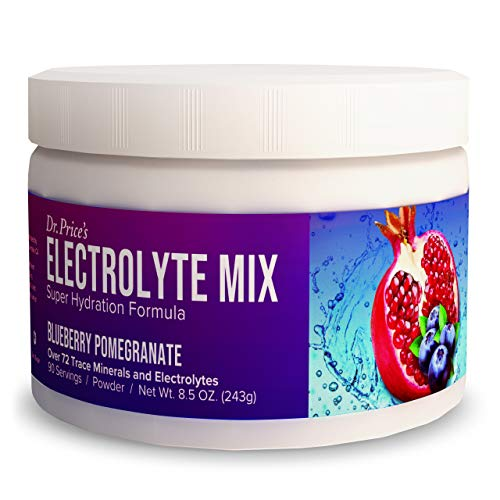 Electrolyte Mix Supplement Powder, 90 Servings, 72 Trace Minerals, Potassium, Sodium, Electrolyte Replacement Keto Drink | Blueberry-Pomegranate Flavor | Dr. Price's Vitamins, No Sugar, Vegan Non-GMO