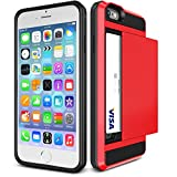 iPhone 6S Case, iPhone 6 Case, tekSonic [Card Slide][Red] - [Card Slot][Drop Protection][Heavy Duty][Wallet] - Case Cover for Apple iPhone 6 and iPhone 6S 4.7' Devices (Red)