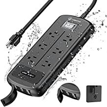 CORATED Outdoor Weatherproof Power Strip, 9FT Extension Cord Strip, Wall Mountable 1500J 1875W IPX6 Waterproof Surge Protector Power Strip with 6 Outlets and 3 USB Ports for Garden, Kitchen, Home
