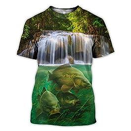 BBYOUTH T-Shirts De Pêche en Basse 3D pour Hommes, Camouflage Poisson Faucheuse Imprimée Animal D'été Estival Summer…