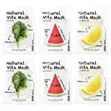 Too Cool For School - Natural Vita Mask Set, Mascarillas Coreanas Con Extractos de Frutas (Firmeza + Hidratación + Brillo), 6 Unidades