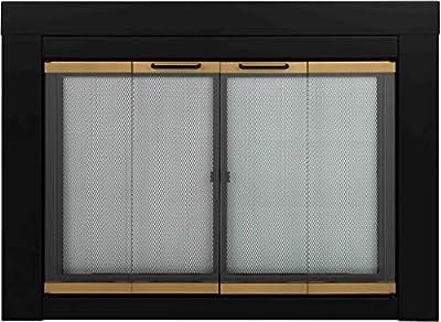 Pleasant Hearth AR-1020 Arrington Fireplace Glass Door, Black, Small by Pleasant Hearth