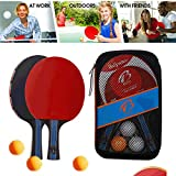 fenjinsheng Ping Pong Paddle Set of 4 - Table Tennis Racket for Indoor and Outdoor - Portable Ping Pong Paddles and Balls...