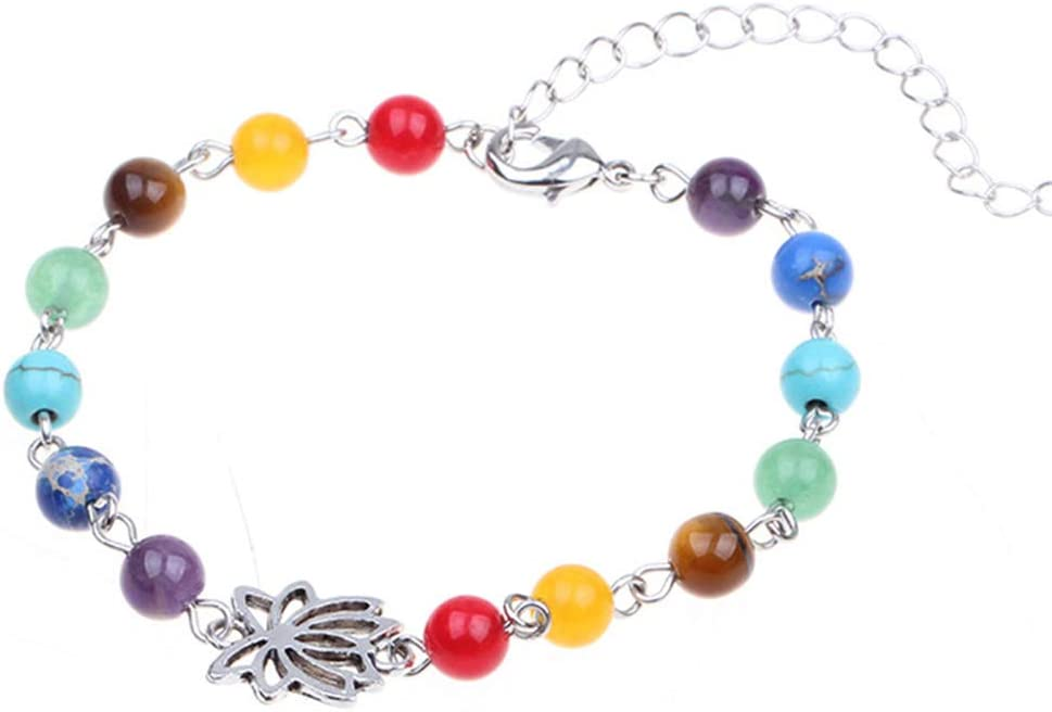 Rainbow Anklet Hollow Out Lotus Colorful Faux Gem Adjustable Foot Chain for Women Men Gifts