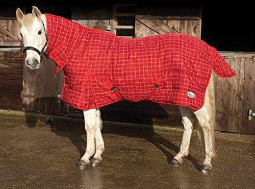 Rhinegold Dakota Quilted Stable Rug-Winter Weight 300gsm fill Couverture 0, Rouge/Blanc Carreaux, 175 cm